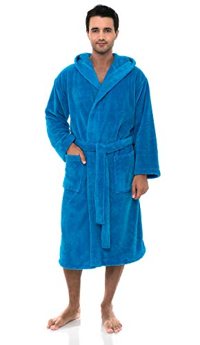 - TowelSelections Men's Robe, Plush Fleece Hooded Spa Bathrobe Medium/Large Blithe Blue