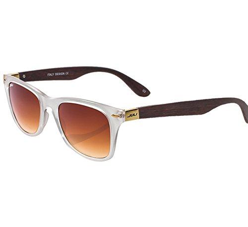 JULI Mens Womens Fashion Wayfarer Wood Bamboo Printed Black Frame Mirror Lens Wrap 52MM Sunglasses - 52 Wayfarer