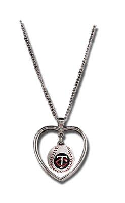 Minnesota Twins Necklace w/ Baseball in Heart Charm