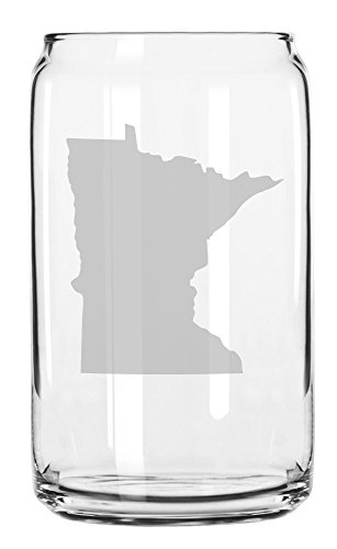 (State of Minnesota Etched Can Glass 16oz)