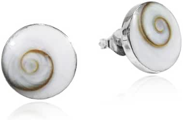 Round 10 mm Swirl Shiva Shell .925 Silver Post Earrings