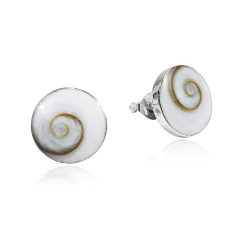 Silver Shell Post (Round 10 mm Swirl Shiva Shell .925 Sterling Silver Post Earrings)