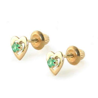 Kids 14K Yellow Gold Genuine Emerald Heart Stud Earrings - May Birthstone