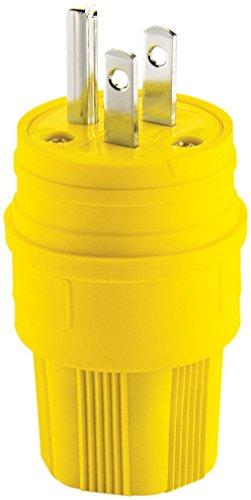 EATON 14W47-K Arrow Hart Straight Blade Watertight Grounded Electrical Plug, 125 Vac, 15 A, 2 P, 3 W