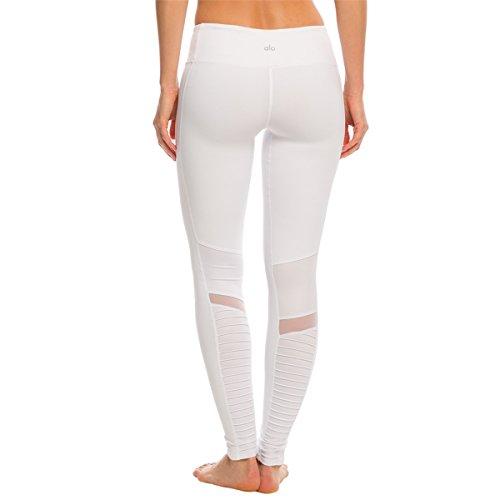 Alo Yoga Women's Moto Legging, White/White Glossy, L