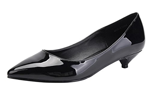 CAMSSOO Women's Comfor Classic Slip On Pointed Toe Dress Shoes Low Heel Pump Wedding Shoe Black Patent PU Size US9 (Womens Low Heel)