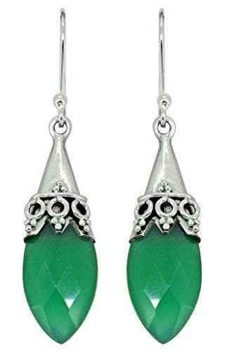 YoTreasure Green Onyx Drop Dangle Earrings Solid Sterling Silver Women Designer Jewelry ()