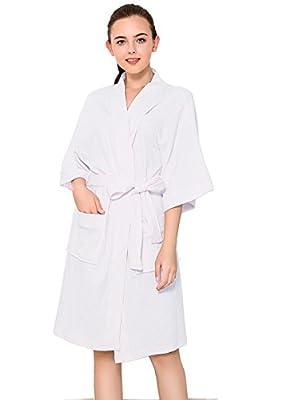 CaiDieNu Women's Kimono Bathrobe Waffle Hotel Spa Robe Lightweight Knee-Length Cotton Nightgowns Sleepwear