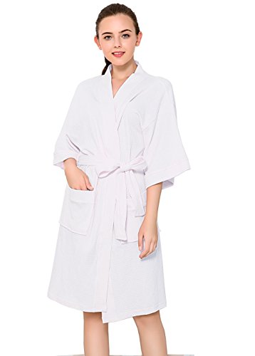 Womens Lightweight Robe Cotton Kimono Waffle Spa Bathrobe Belted with Pockets for Ladies Sleepwear White ()