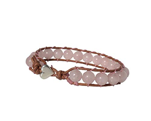 (Pale Pink Rose Quartz Gemstone Bracelet with Antique-Brown Leather Cord, Antiqued-Silver Pewter Heart Button, Customize Length)