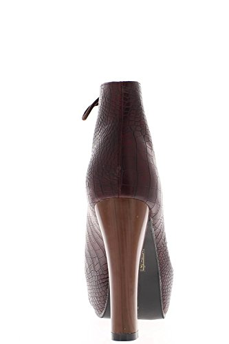 Botas de tacón de Bordeaux tramos madera 11,5 cm