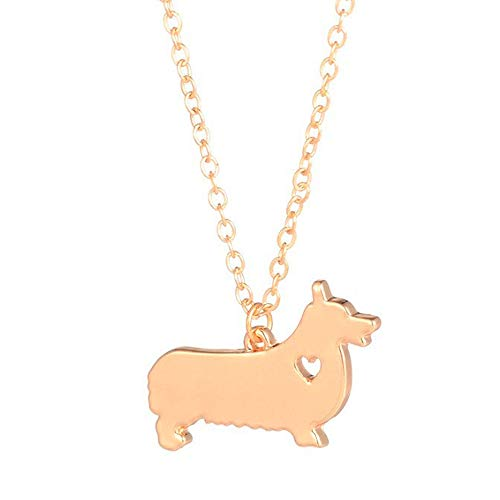 Art Attack Goldtone I Love My Dog Lover Heart Outline Pembroke Cardigan Welsh Corgi Necklace