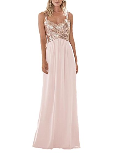 (Firose Women's Sequined Sweetheart Backless Long Chiffon Prom Bridesmaid Dresses 6 Rosegold/Pink)
