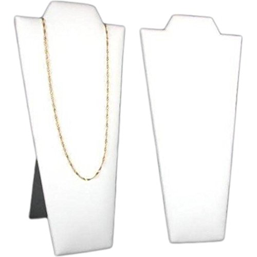Faux Leather Padded Necklace Display - FindingKing 2 Necklace Pendant Displays Busts White Leather Easel