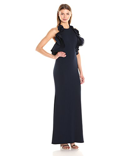 Badgley-Mischka-Womens-Ruffle-Halter-Gown