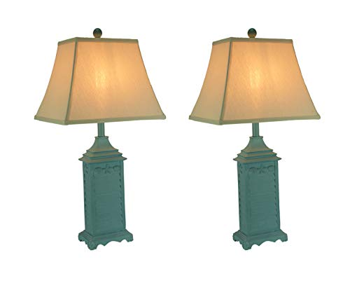 Blue Seashell Shutter Table Lamp with Fabric Shade Set of 2