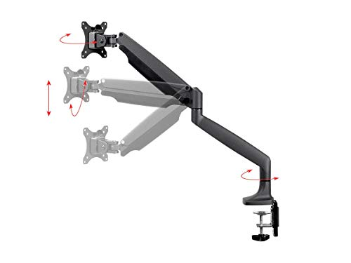 Monoprice Smooth Full Motion Single Monitor Adjustable Gas Spring Desk Mount - Black For Large Screens, Supports Up To 34 inch Monitors, 19.8 LBS Max Display Weight, Easy Set up
