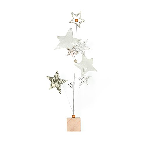 Roser Life Photo Holder Tree Handmade Tabletop Picture Display Beige Gold Star Decor (Pack of (Christmas Star Picture)