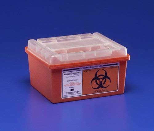 Kendall 31143699 Sharps-A-Gator General Purpose Large Volume Sharps Disposal Biohazard Waste Container, 1 Gallon Capacity, Red (Case of 32) by Kendall