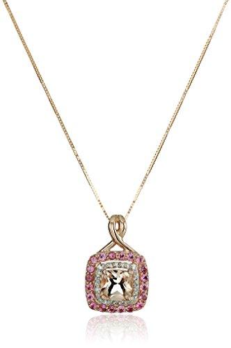 14k Pink Gold Morganite, Pink Tourmaline and Diamond Pend...