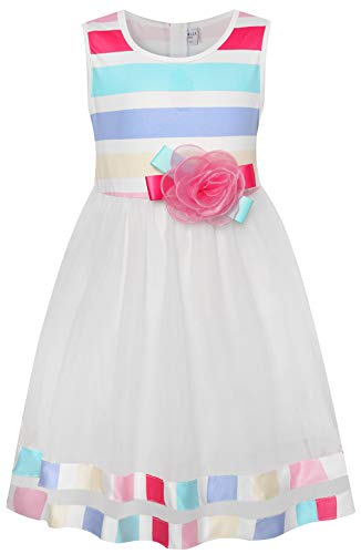 LYNLLA 5T Tutu Princess Cute Party White Dresses for Girls Striped Casual Flower Dress