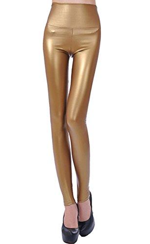 Nuevo fashion para mujer piel sintética de gran calidad cintura pantalones de espacios de piel sintética para dorado