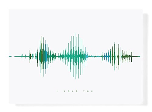I Love You Visible Love Gift Sound Wave Art, Green and Teal Mountain Reflection Abstract Landscape Illustration, Wart Art, - A4 Unframed,