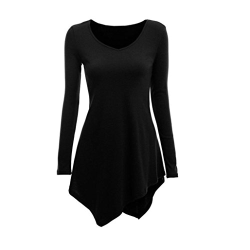 iYBUIA Women V-Neck Handkerchief Hem Line Long Sleeve Lightweight Pullover Tunic Tops T-Shirts(Black,L) from iYBUA