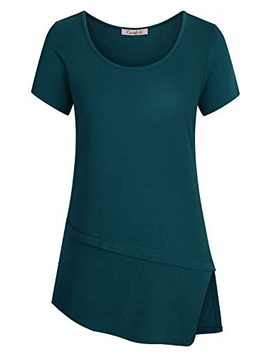 Cyanstyle Comfy Clothes for Women Work Girls Boat Collar Retro Solid Color T Shirts Short Sleeve Relaxed Fit Clothing Round Bottom Soft Knit Cute Tunics Blouse Oversized Top Cyan XXL