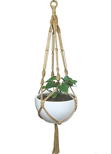 HANPO Macrame Plant Hanger Hanging Planter 4 Legs Natural Hemp Rope Plant Hanger & Plant Holder With Metal Ring Twined with Hem Rope 48 Inch for Square or Round Plant Pot 10 inch to 12 inch