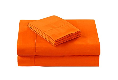 (Nile Bedding Collection Luxury Hotel Bed Sheets Egyptian Cotton 600 TC 4PCs Sheet Set 15 Inches Deep Pocket Orange Solid Queen Size (1 Fitted sheet,1 Flat Sheet & 2 Pillowcover) )