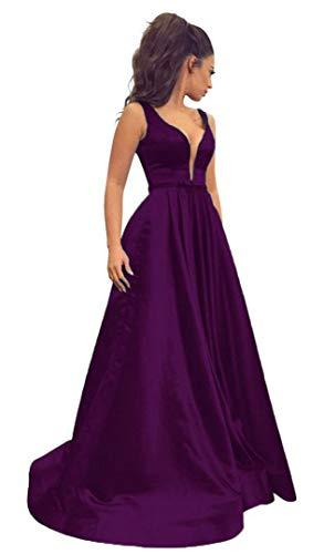 Prom Open Party Women\'s Neck Sisidress Deep Evening Dresses Purple ...