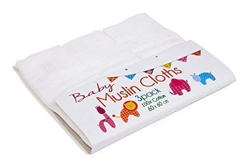 3 Pack Cotton White Muslins Squares 60 x 60cms Victoria Textiles