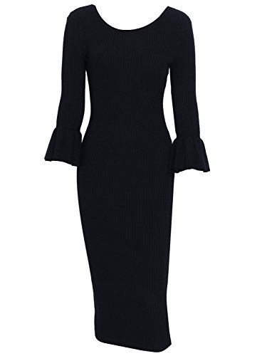 Simplee Women's 3/4 Sleeve Bodycon Sweater Dress Winter Warm Knitted Midi Dress