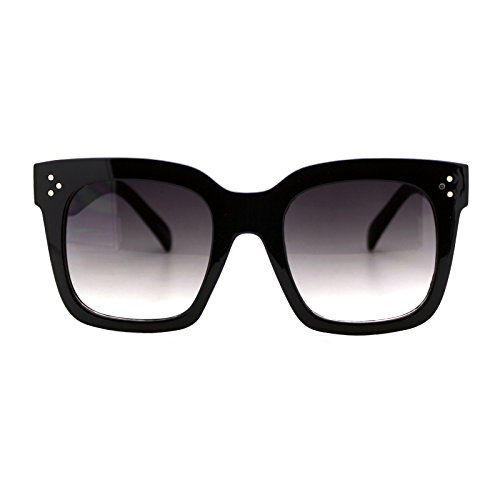 Womens Oversized Fashion Sunglasses Big Flat Square Frame UV 400 (black, smoke) (Square Sunglasses)
