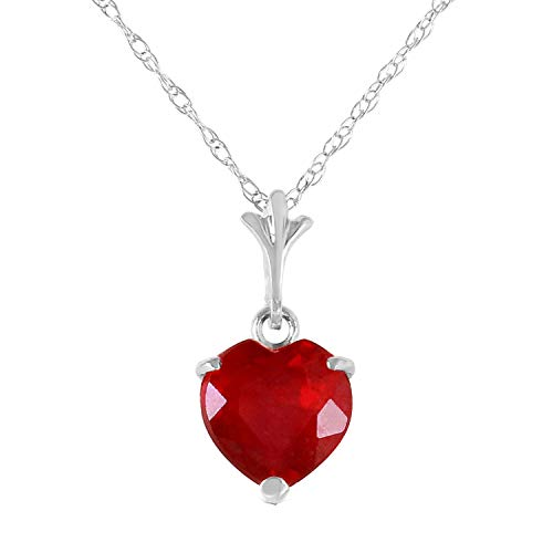 """1.45 Carat 14k 20"""" Solid White Gold Necklace with Natural Heart-Shaped Ruby"""