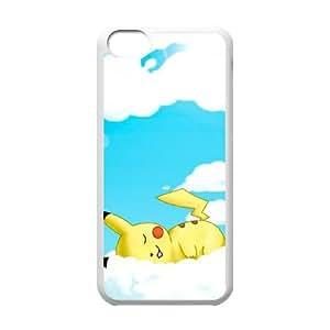 Pokemon Clouds Pikachu Drawings funda iPhone 5c caja funda del teléfono celular del teléfono celular blanco cubierta de la caja funda EEECBCAAL14859