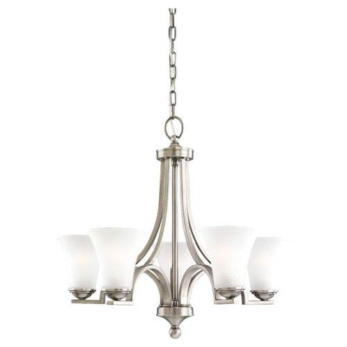 Sea Gull Lighting 31376-965 Five-Light Somerton Chandelier with Satin Etched Glass Shades, 5″ x 2.5″ x 2.5″, Antique Brushed Nickel Finish Review