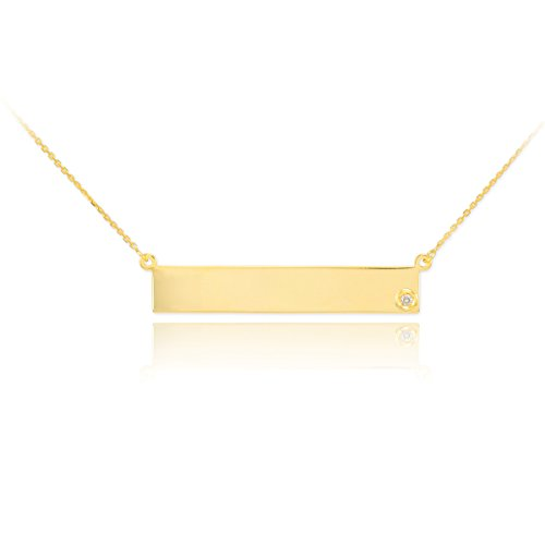 Dainty 14k Yellow Gold Engravable Personalized Diamond Bar Necklace for Women, 18
