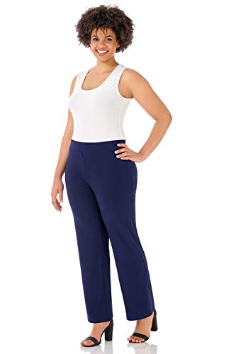 Rekucci Travel in Style - Curvy Woman Classic Straight Leg Plus Size Pant (4X,Navy)