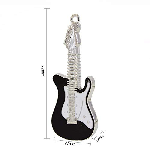 lynneo® Llave USB Guitarra eléctrica Negra de Metal Capacidad 16 GB portátil con un Llavero Metal Guitarra Incluye. Ideal como Regalo.