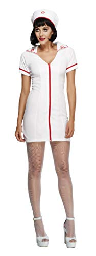 Smiffys Women's Fever No Nonsense Sexy Nurse Costume, Dress and Hat, Nurses, Fever,Red/White,Small