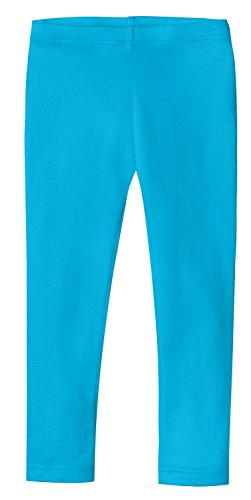 City Threads Girls' Leggings 100% Cotton for School Uniform Sports Coverage or Play Perfect for Sensitive Skin or SPD Sensory Friendly Clothing, Turquoise, (Light Cotton Pants)