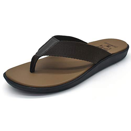 KuaiLu Men's Yoga Mat Leather Flip Flops Thong Sandals with Arch Support (9 M US, Grey- Khaki) ()
