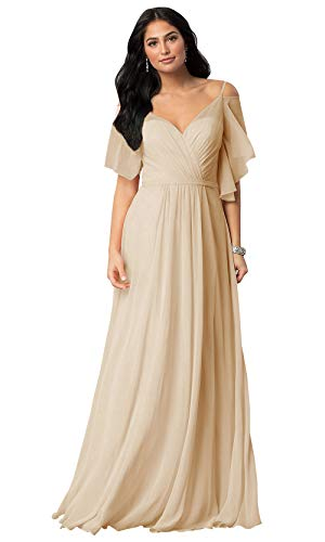 KKarine Off The Shoulder Ruffled Chiffon Bridesmaid Dresses V Neck Floor Length Party Gown Plus Size (18W Champagne)