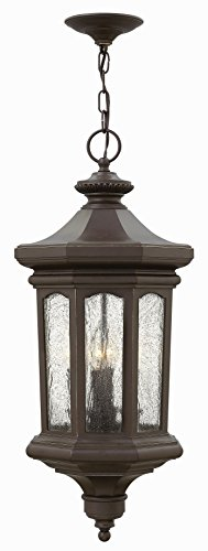 Hinkley 1602OZ Raley - Four Light Outdoor Hanging Lantern, Oil Rubbed Bronze Finish with Clear Water Glass Raley Outdoor Lantern