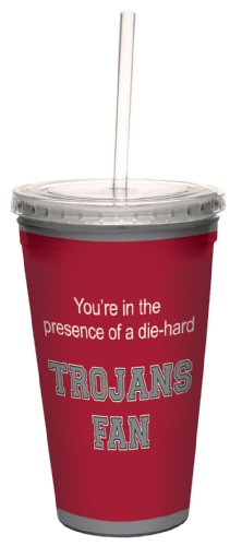 Tree-Free Greetings cc34919 Trojans College Basketball Artful Traveler Double-Walled Cool Cup with Reusable Straw, 16-Ounce ()
