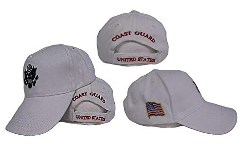 Active Duty White US Coast Guard Embroidered Baseball Hat Cap (Licensed)