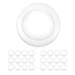 """Parmida (24 Pack) 5/6"""" Dimmable LED Disk Light Flush Mount Recessed Retrofit Ceiling Lights, 15W (120W Replacement), 5000K (Day Light), Energy Star, Installs into Junction Box Or Recessed Can, 1050lm"""