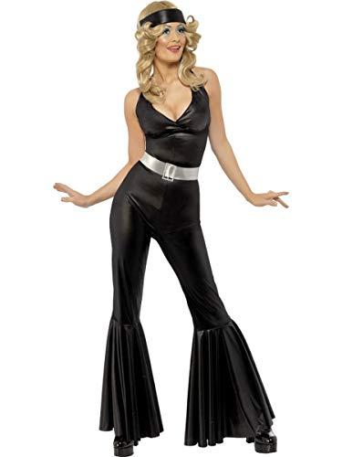 Fest Threads 3 PC Women's 70s Disco Diva Black Jumpsuit w/Headscarf & Belt Party -